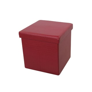 Benzara Urban Port Wine Red Foldable Storage Ottoman