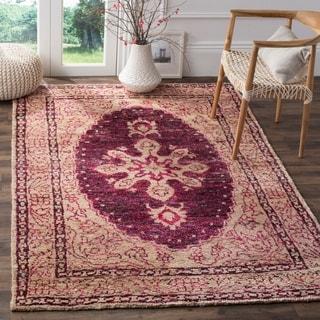 Safavieh Hand-Knotted Tangier Fuchsia / Beige Wool Rug (5' x 8')