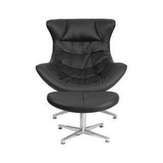 Offex Black Leather Retro Style Upholstered Cocoon Chair With Ottoman