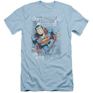 Superman/Action #419 Distress Short Sleeve Adult T-Shirt 30/1 in Slate