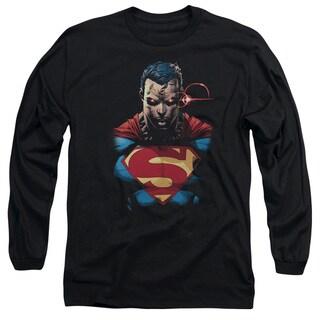 Superman/Displeased Long Sleeve Adult T-Shirt 18/1 in Black
