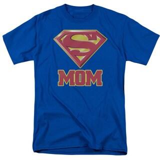 Superman/Super Mom Short Sleeve Adult T-Shirt 18/1 in Royal Blue