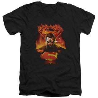 Superman/Man On Fire Short Sleeve Adult T-Shirt V-Neck in Black