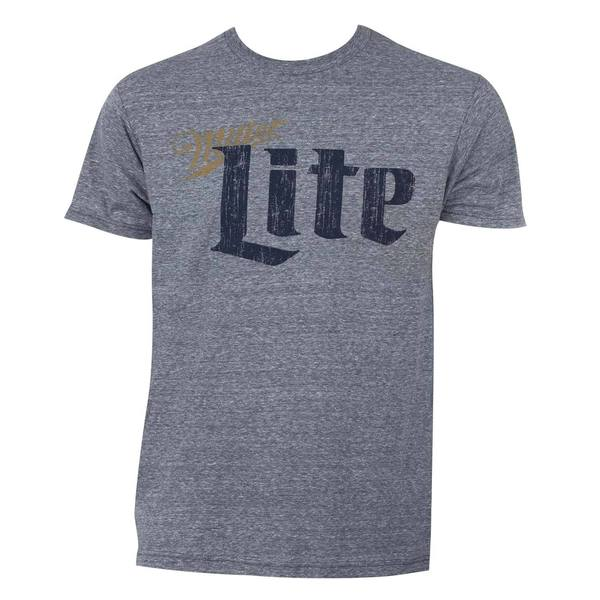 Miller Lite Grey Cotton/Polyester Vintage T-shirt