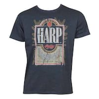 Harp Blue Cotton/Polyester Distressed Label T-shirt
