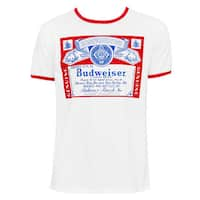 Men's Budweiser White Cotton Short-sleeve T-shirt