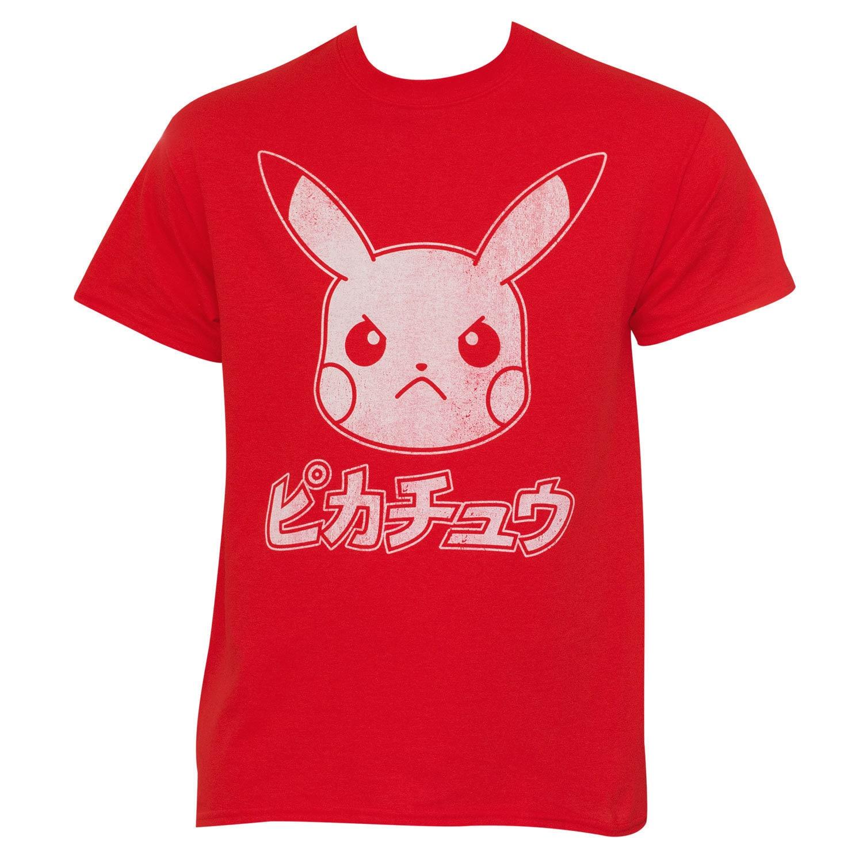 Red Cotton Japanese Pokemon Pikachu T-shirt (Large), Men'...