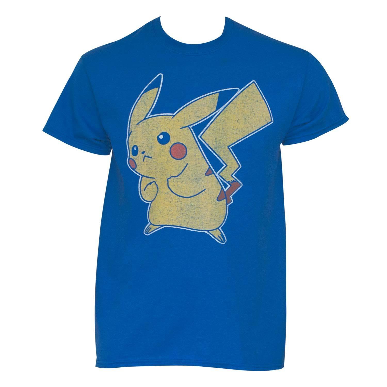Pokemon Blue Cotton Distressed Pikachu T-shirt (X-Large),...