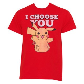 Pokemon Men's Pikachu 'I Choose You' Red Cotton T-shirt
