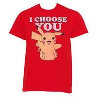 Pokemon Men's Pikachu 'I Choose You' Red Cotton T-shirt