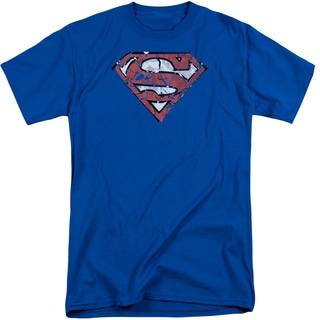 Superman/Ripped and Shredded Short Sleeve Adult T-Shirt Tall in Royal