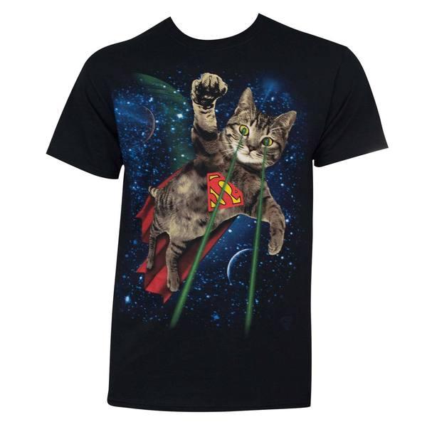 Mens Superman Laser Cat Black Cotton T-shirt