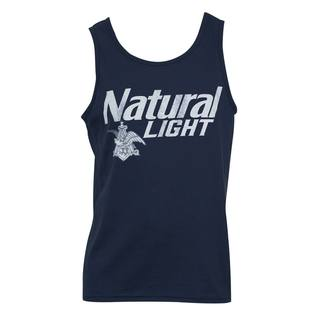 Natural Light Faded Blue Cotton Tank Top