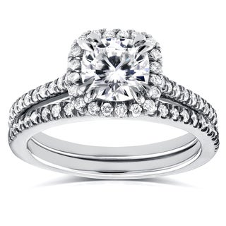 Annello 14k White Gold Cushion Moissanite and 1/2ct TDW Diamond Halo Cathedral Bridal Set (G-H, I1-I2)