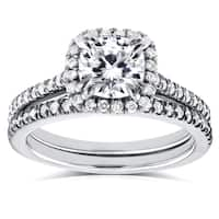 Annello by Kobelli 14k White Gold Cushion Moissanite (FG) and 1/2ct TDW Diamond (GH) Halo Cathedral Bridal Rings Set