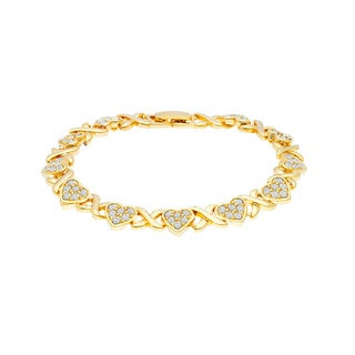 Gold over Brass Crystal Hugs and Kisses Tennis Bracelet