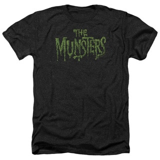 Munsters/Distress Logo Adult Heather T-Shirt in Black