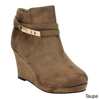 Bella Marie Women's Black Faux-suede Goldtone Buckle Wedge Heel Ankle Booties