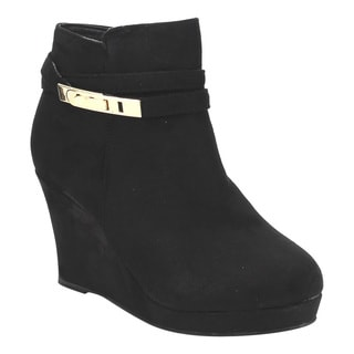 Bella Marie Women's Black Faux-suede Goldtone Buckle Wedge Heel Ankle Booties