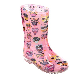 Jelly Beans GE90 Girls' Pink PVC Owls Pattern Mid-calf Clear Lug Sole Rain Boots