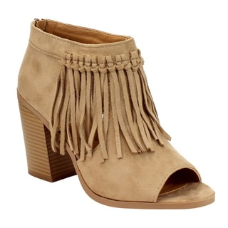Soda FE29 Women's Fringe Side Cut-out Back-zip Stacked Block Heel Faux Suede Ankle Booties