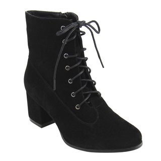Mark & Maddux GE92 Women's Faux Suede Lace-up Zip-closure Low Chunky-heel Ankle Booties