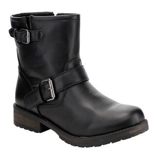 Breckelle's Women's ED46 Lug Sole Stack Heel Side Zipper Ankle Booties