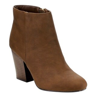 Delicious FE06 Women's Faux-leather Plain Ankle High Side Zip Stacked Block Heel Booties