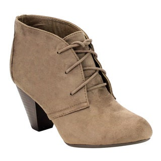 CityClassified Women's Faux-suede Lace-up Stacked Block Heel Ankle Booties