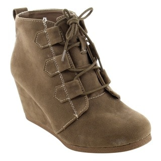 QUPID Women's FD06 Lace-up Platform Wedge Ankle Booties
