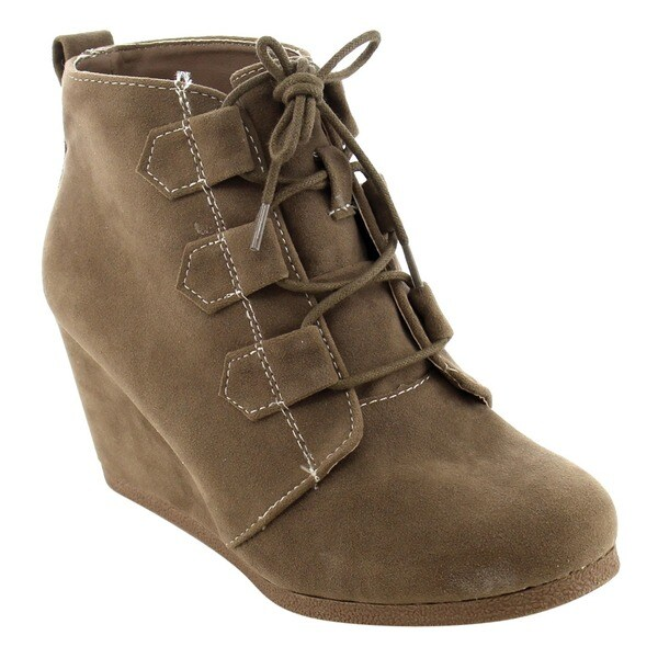 Qupid Women's Lace Up Platform Wedge Round Toe Ankle Bootie