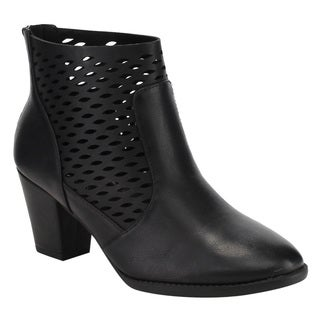 CityClassified Women's Black Faux-leather Perforated Cut-out Block Heel Ankle Booties