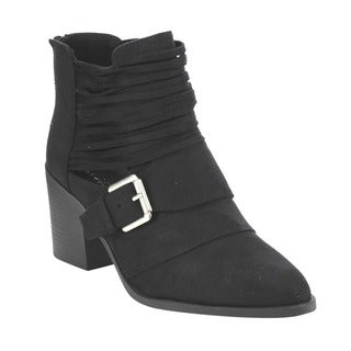 Soda FD60 Women's Faux Suede Belted Stacked Block Heel Ankle Booties