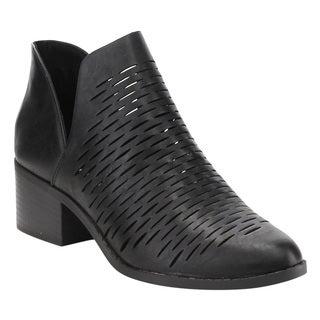 CityClassified Women's FD57 Black Faux Leather Low Heel Ankle Booties