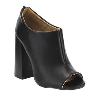 Qupid Women's FE09 Black Faux Leather Plain-seam Stacked Block-heel Back-zip Ankle Bootie