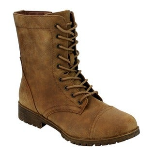Bamboo ED10 Women's Faux-leather Mid-calf Military Lace-up Combat Boots