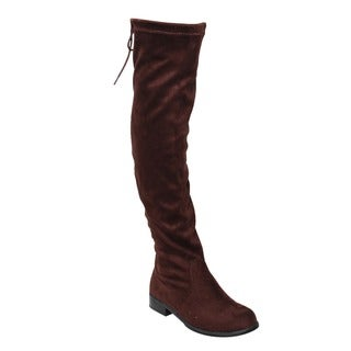 Bamboo Women's ED39 Black/Brown Fauz Suede Drawstring Low Chunky Thigh-high Boots