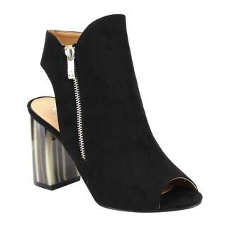 Corrina Women's FE18 Faux-suede Open-back Side-zip Chunky Block Heel Ankle Booties