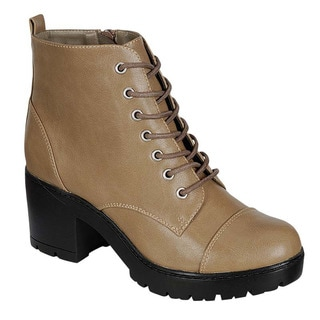 Breckelle's ED26 Women's Faux Leather Lace-up Chunky Platform Ankle Booties