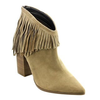 Kenneth Cole Women's ED66 Almond/Black/Charcoal Faux Suede Ankle Fringe High Stacked Block Heel Booties