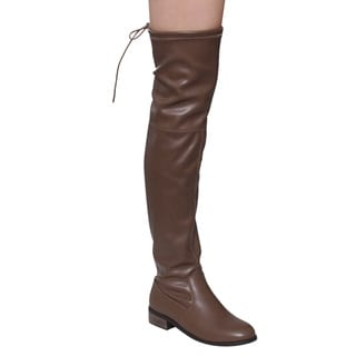Nature Breeze FE37 Women's Faux Leather Stretchy Over-the-knee Low Block-heel Boots