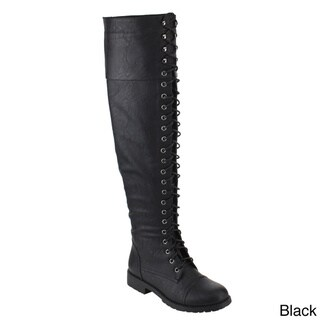 NATURE BREEZE FE44 Women's Over The Knee Lace-up Block Heel Boot