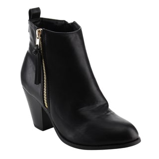 Nature Breeze Women's FE40 Black Faux Leather Tassels Side-zip Chunky Block-heel Ankle Booties