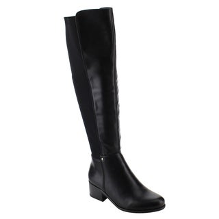 Nature Breeze FE36 Women's Faux Leather Studded Over-the-Knee Chunky Block Heel Boots