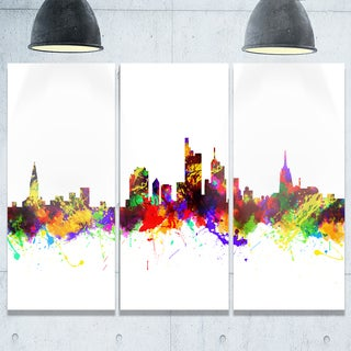 Frankfurt Germany Skyline - Cityscape Painting Glossy Metal Wall Art