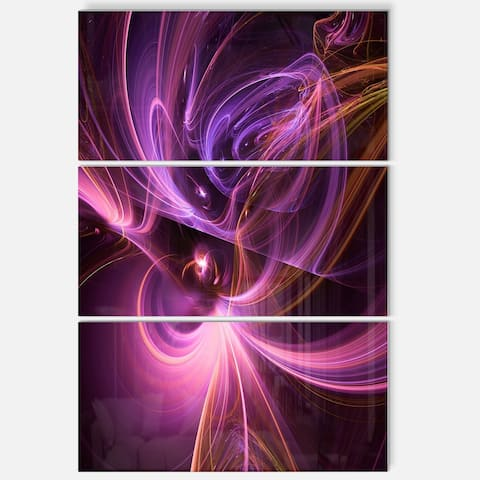 Purple Fractal Light Art in Dark - Abstract Large Abstract Art Glossy Metal Wall Art - 28 in. wide x 36 in. high - 3 panels