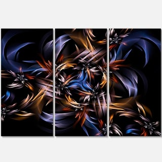 Blue Fractal Light Art in Dark - Abstract Large Abstract Art Glossy Metal Wall Art