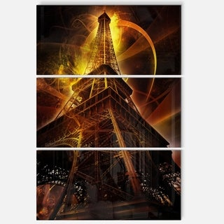 Paris Eiffel Tower on Fantasy Background - Cityscape Glossy Metal Wall Art