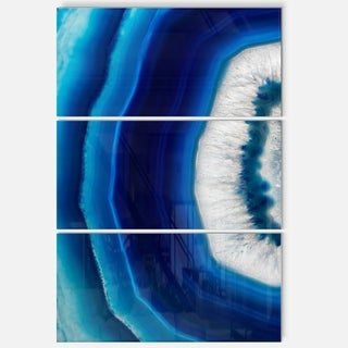 Blue Agate Crystal - Abstract Digital Art Glossy Metal Wall Art