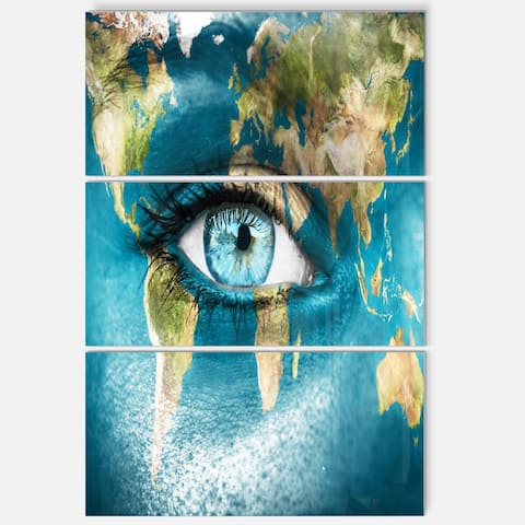 Planet Earth and Blue Eye - Abstract Digital Art Glossy Metal Wall Art - 28 in. wide x 36 in. high - 3 panels